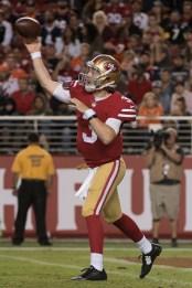 San Francisco 49ers quarterback C.J. Beathard (3) passes the ball in the third quarter of the game against the Denver Broncos at Levi's Stadium in Santa Clara, Calif., on August 19, 2017.