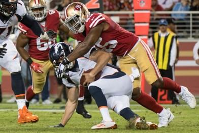 San Francisco 49ers linebacker Pita Taumoepenu (45) sacks Denver Broncos quarterback Kyle Sloter (1) in the third quarter of the game at Levi's Stadium in Santa Clara, Calif., on August 19, 2017.