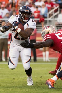 Denver Broncos running back C.J. Anderson (22) rushes to the 1-yard line in the first quarter of the game against the San Francisco 49ers at Levi's Stadium in Santa Clara, Calif., on August 19, 2017.
