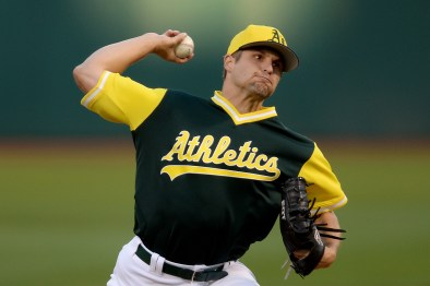 "Oakland Athletics starting pitcher Kendall ""Digger"" Graveman (49) throws a pitch in the first inning as the Texas Rangers face the Oakland Athletics at Oakland Coliseum in Oakland, Calif., on Friday, August 25, 2017."