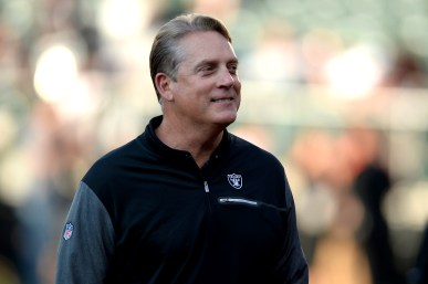 Oakland Raiders head coach Jack Del Rio looks into the stands at fans as the Seattle Seahawks face the Oakland Raiders at Oakland Coliseum in Oakland, Calif., on Thursday, August 31, 2017.