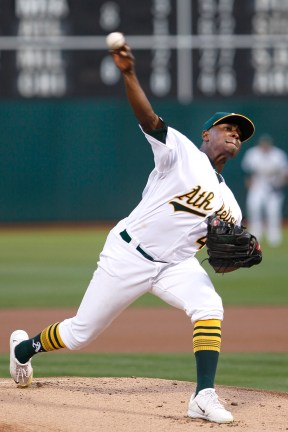 Oakland Athletics starting pitcher Jharel Cotton (45) throws a pitch in the first inning as the Houston Astros face the Oakland Athletics at the Oakland Coliseum on Friday September 08, 2017.
