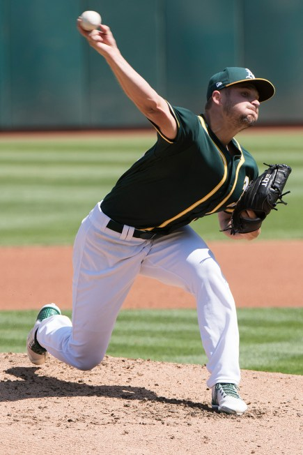 Oakland Athletics pitcher Kendall Graveman (49) pitches in the second inning of the game against the Houston Astros at the Oakland Coliseum in Oakland, Calif., on September 10, 2017.