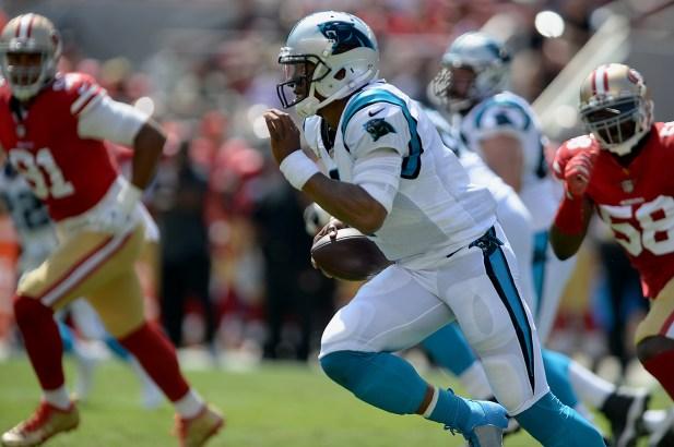 Carolina Panthers starting quarterback Cam Newton (1) scrambles outside the pocket as the Carolina Panthers face the San Francisco 49ers at Levi's Stadium in Santa Clara, Calif., on Sunday, September 10, 2017.