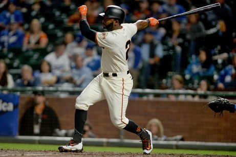 San Francisco Giants center fielder Denard Span (2) comes through with an RBI single in the fifth inning as the Los Angeles Dodgers face the San Francisco Giants at AT&T Park in San Francisco, Calif., on Monday, September 11, 2017.