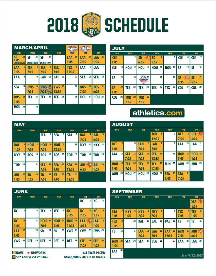 Oakland A's 2018 schedule. Courtesy of the team.
