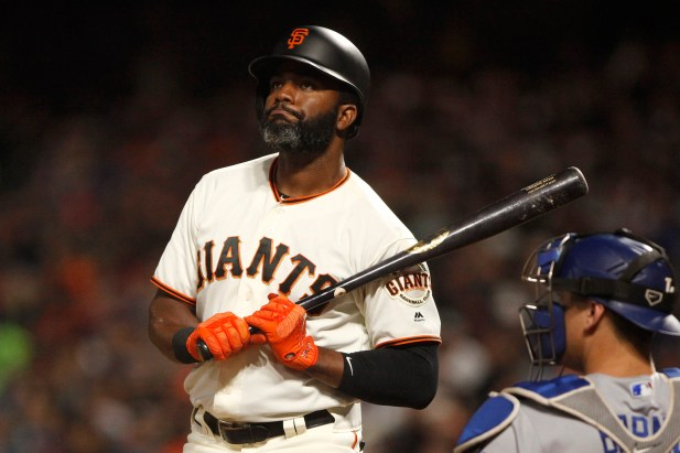San Francisco Giants center fielder Denard Span (2) reacts after a called strike during the fourth inning as the Los Angeles Dodgers face the San Francisco Giants at the AT&T Park on Wednesday September 13, 2017.