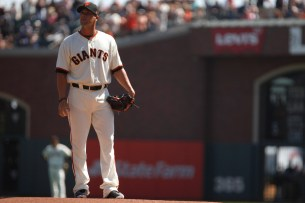 San Francisco Giants former pitcher Ryan Vogelsong (32) prepares to throw the first during his retirement ceremony before the game against Arizona Diamondbacks at the AT&T Park on Sunday September 17, 2017.