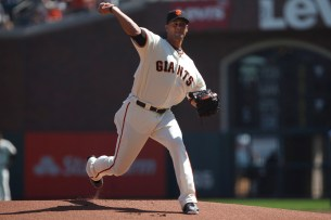 San Francisco Giants former pitcher Ryan Vogelsong (32) throws a pitch during his retirement ceremony before the game against Arizona Diamondbacks at the AT&T Park on Sunday September 17, 2017.