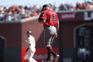 Arizona Diamondbacks pitcher Taijuan Walker (99) reacts after walking San Francisco Giants left fielder Austin Slater (53) while bases were loaded giving the giant their second run in the fifth inning as the Arizona Diamondbacks face the San Francisco Giants at the AT&T Park on Sunday September 17, 2017.