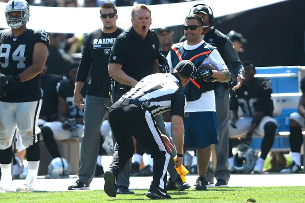 Oakland Raiders head coach Jack Del Rio yells at a referee after an unsportsmanlike conduct penalty in the first half as the New York Jets face the Oakland Raiders at Oakland Coliseum in Oakland, Calif., on Sunday, September 17, 2017.
