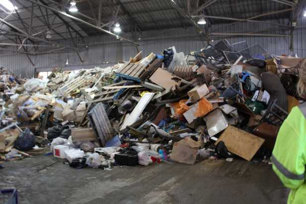 The garbage pile at Recology's Transfer Center.