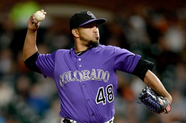 Colorado Rockies starting pitcher German Marquez (48) throws a pitch in the first inning as the Colorado Rockies face the San Francisco Giants at AT&T Park in San Francisco, Calif., on Tuesday, September 19, 2017.