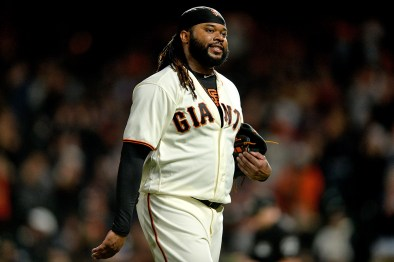 San Francisco Giants starting pitcher Johnny Cueto (47) is removed from the game in the sixth inning as the Colorado Rockies face the San Francisco Giants at AT&T Park in San Francisco, Calif., on Tuesday, September 19, 2017.