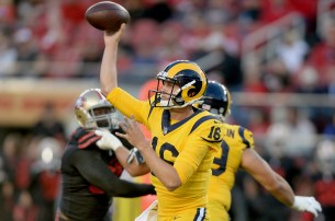 Los Angeles Rams quarterback Jared Goff (16) gets off a pass in the first half as the Los Angeles Rams face the San Francisco 49ers at Levi's Stadium in Santa Clara, Calif., on Thursday, September 21, 2017.