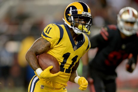 Los Angeles Rams wide receiver Tavon Austin (11) gains yardage in the second half as the Los Angeles Rams face the San Francisco 49ers at Levi's Stadium in Santa Clara, Calif., on Thursday, September 21, 2017.