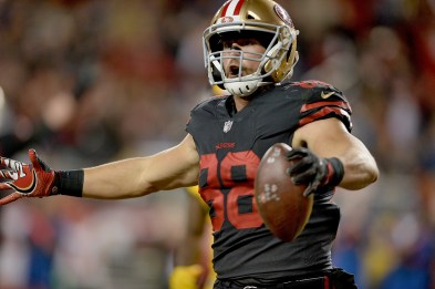 San Francisco 49ers' Garrett Celek (88) reacts after a TD in the second half as the Los Angeles Rams face the San Francisco 49ers at Levi's Stadium in Santa Clara, Calif., on Thursday, September 21, 2017.