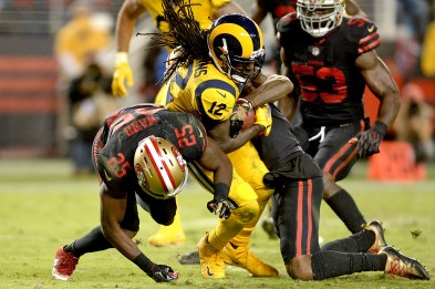 Los Angeles Rams wide reciever Sammy Watkins (12) fights for extra yardage inside the five hardline as the Los Angeles Rams face the San Francisco 49ers at Levi's Stadium in Santa Clara, Calif., on Thursday, September 21, 2017.