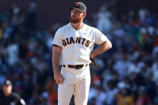 San Francisco Giants pitcher Sam Dyson(49) reacts after the San Diego Padres scored two runs in the ninth inning giving them the lead of 3-2 at AT&T Park on Saturday, September 30, 2017. Giants lost 2-3.