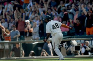 San Francisco Giants third baseman Pablo Sandoval (48) rounds the bases after a walk off solo home run as the San Diego Padres lose in the final game of the season 5-4 to the San Francisco Giants at AT&T Park in San Francisco, Calif., on Sunday, October 1, 2017.