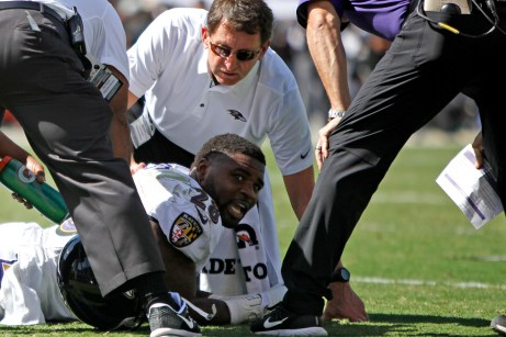 Baltimore Ravens running back Terrance West (28) gets injured in the first quarteras the Baltimore Ravens take on the Oakland Raiders at the Oakland Coliseum on Sunday, October 8, 2017. The Ravens won 30-17.