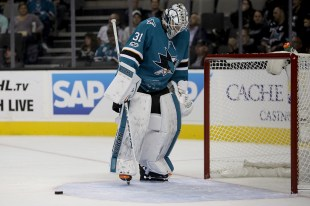 San Jose Sharks Martin Jones (31) reacts after allowing a goal in the first period as the Buffalo Sabres take on the San Jose Sharks at the SAP Center in San Jose, Calif., on Thursday, October 12, 2017.