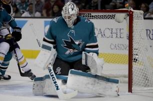 San Jose Sharks Martin Jones (31) blocks a shot on goal as the Buffalo Sabres take on the San Jose Sharks at the SAP Center in San Jose, Calif., on Thursday, October 12, 2017.