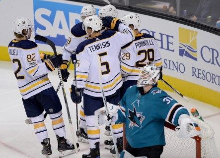 The Buffalo Sabres celebrate a second period goal as they take on the San Jose Sharks at the SAP Center in San Jose, Calif., on Thursday, October 12, 2017.