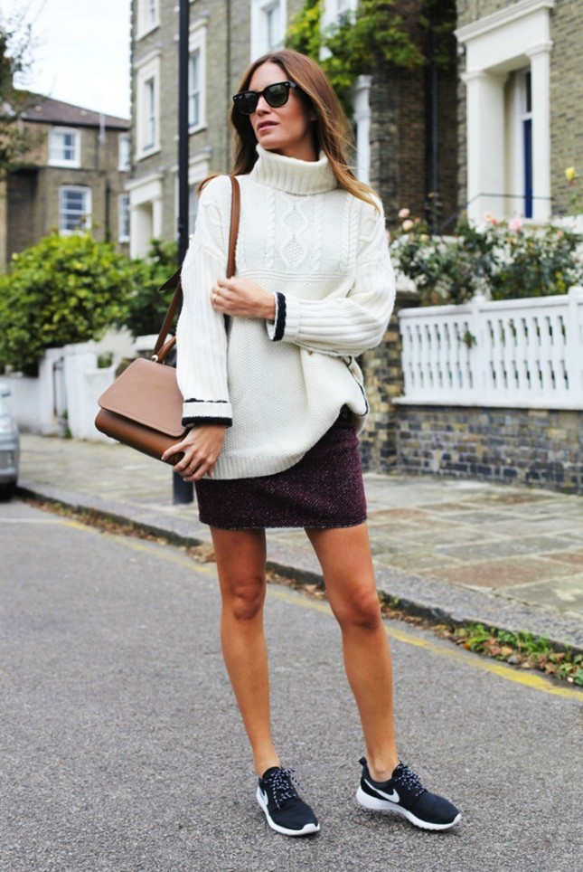Chunky Sweater and Mini Skirt