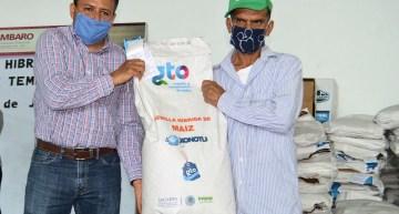 Productores agrícolas  reciben semilla mejorada híbrida