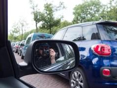 Taxi mirror selfie