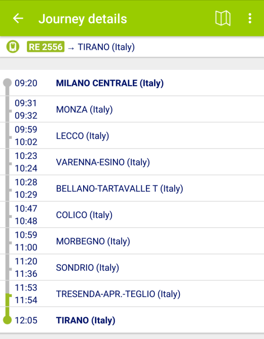 Milano to Tirano train timetable.