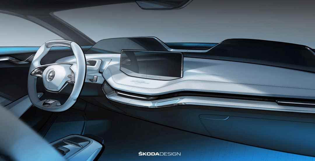 Sneak peek of the Skoda Vision E's futuristic interior