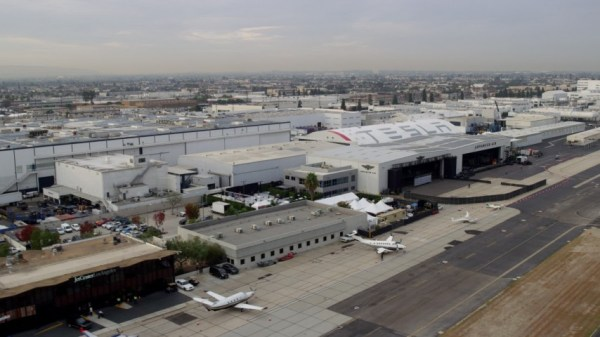 8K aerial video flying by Hawthorne Airport in the morning ...