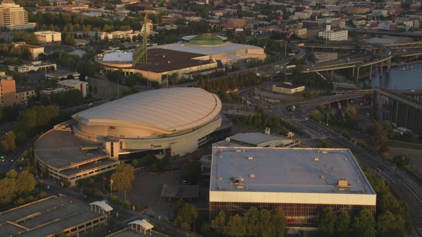 5k Stock Footage Aerial Video Of Rose Garden Arena Memorial Coliseum Downtown Portland Oregon Sunset Aerial Stock Footage Ax54 065 Axiom Images