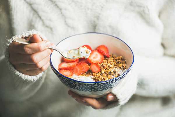 Greek yogurt, granola and strawberry bowl