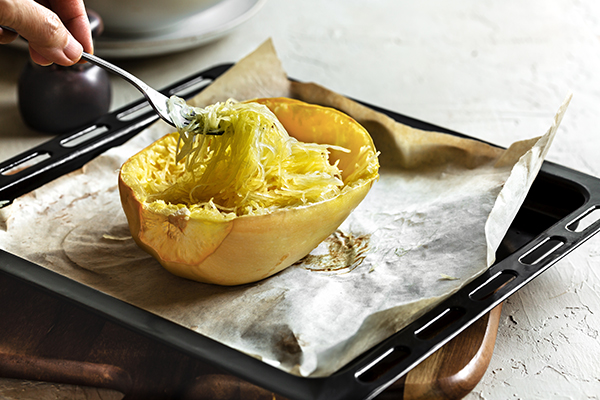 Roasted Spaghetti Squash on a baking tray