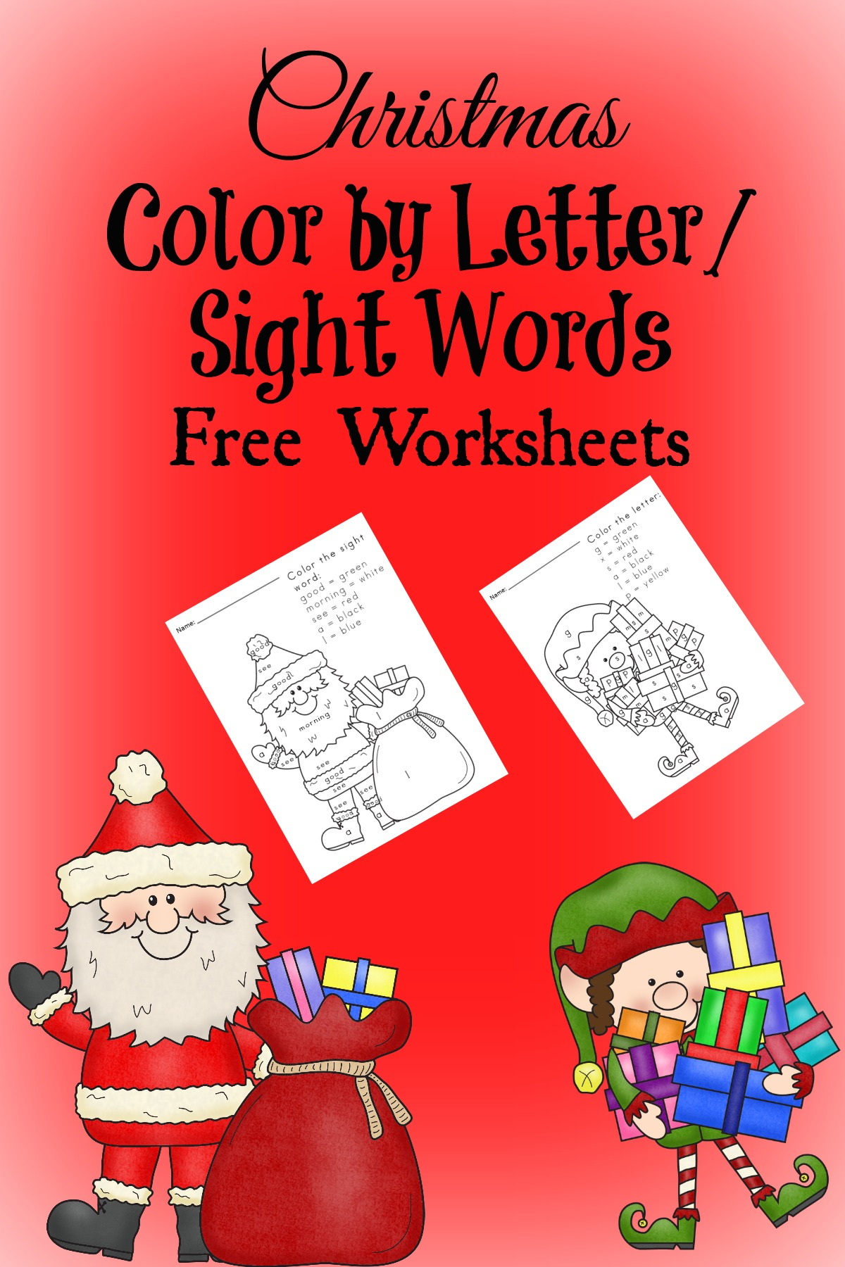 Free Christmas Worksheets For Kids Color By Letter Sight