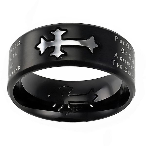 Armor Of God Black Neo Cross Ring ST NEO AOG BLK Men
