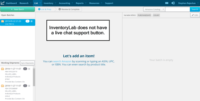 inventorylab no live chat