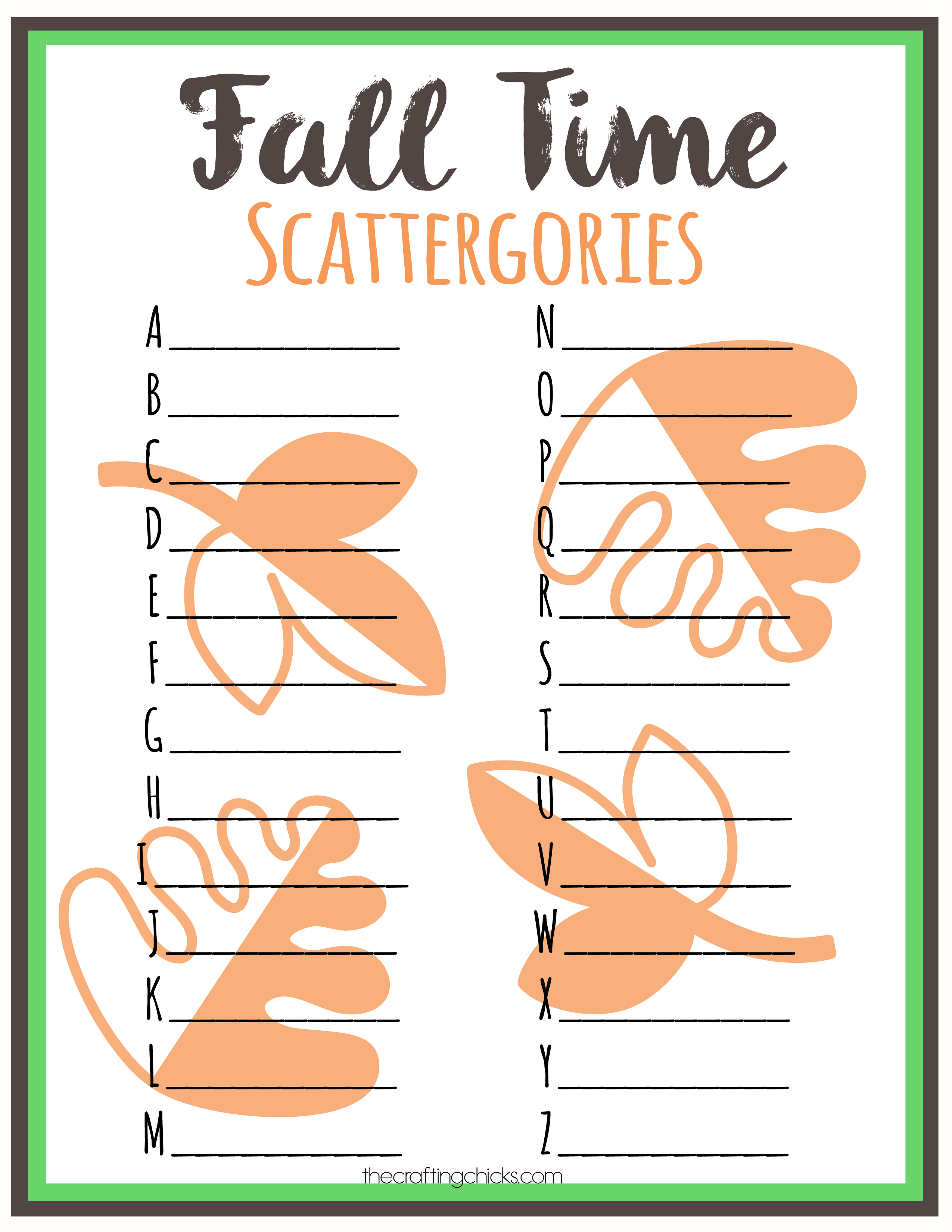 Fall Scattergories Game Amp Free Printable