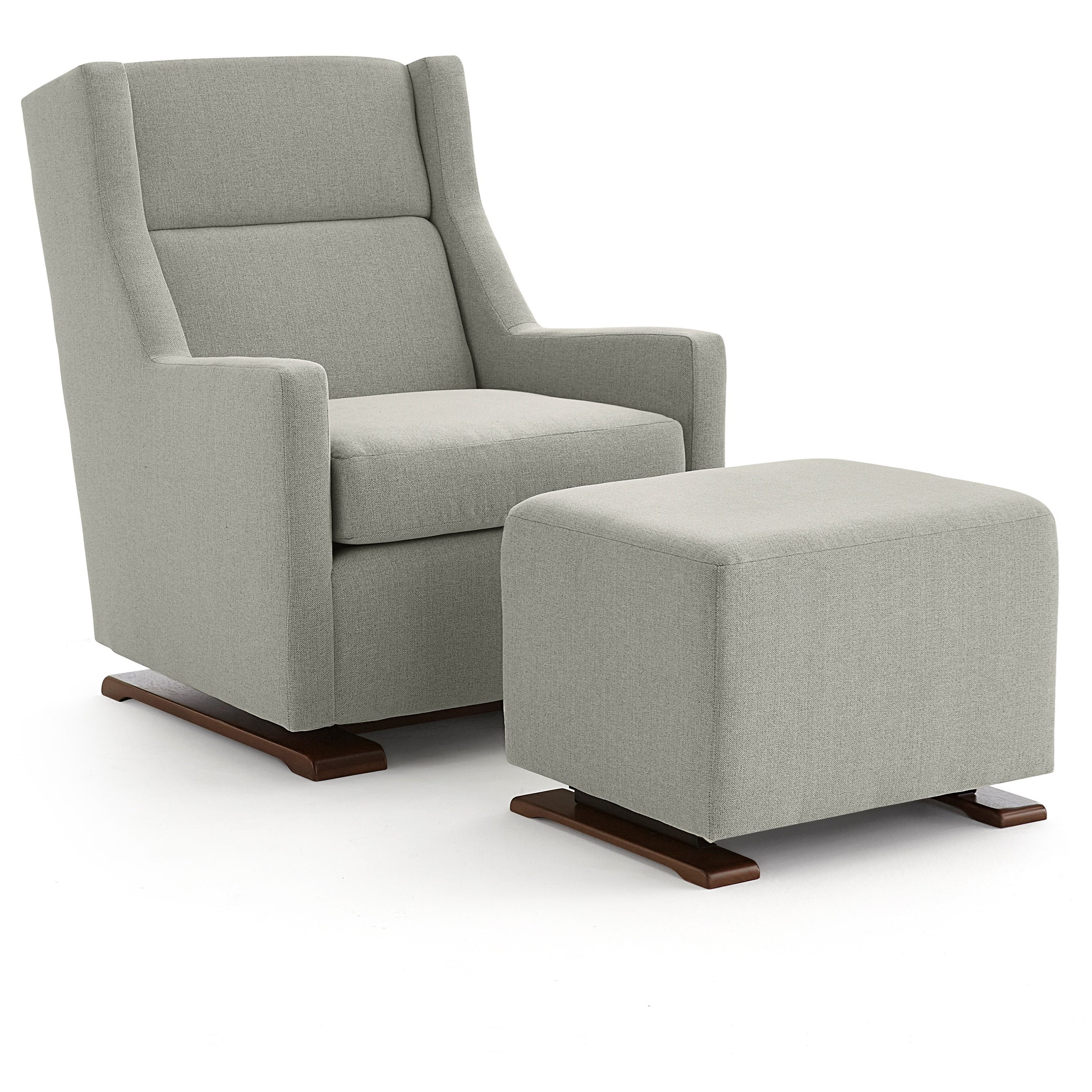 Casual Swivel Gliding Chair With Wood Runners And Gliding