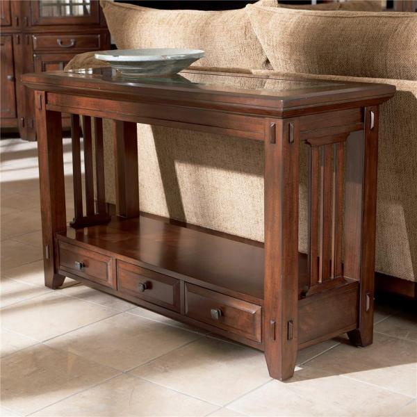 Three Drawer Sofa Table by Broyhill Furniture   Wolf and Gardiner     Three Drawer Sofa Table