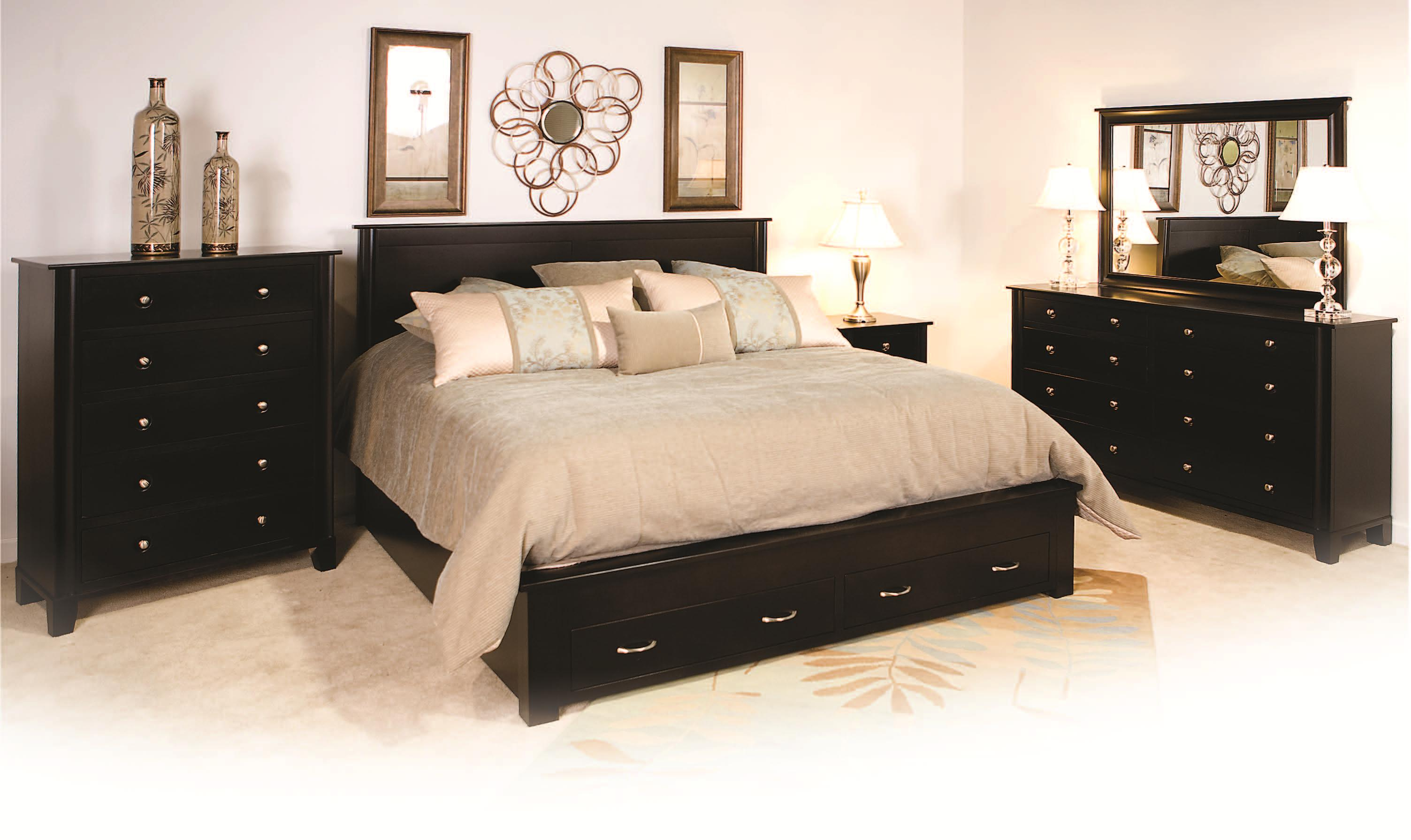 King Frame Bed With 2 Footboard Drawers By Daniel S Amish