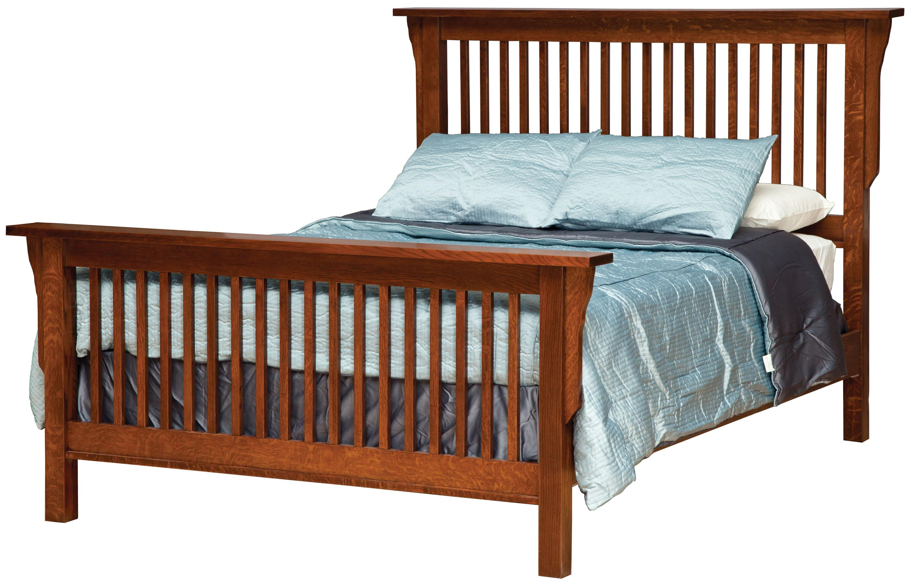 Queen Mission Style Frame Bed with Headboard   Footboard Slat Detail     Queen Frame Bed