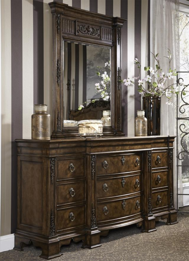 Traditional Antique Dresser & Mirror bo with Hidden Drawer by