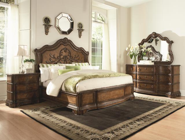 California King Panel Bed with Wood Carved Details by Legacy