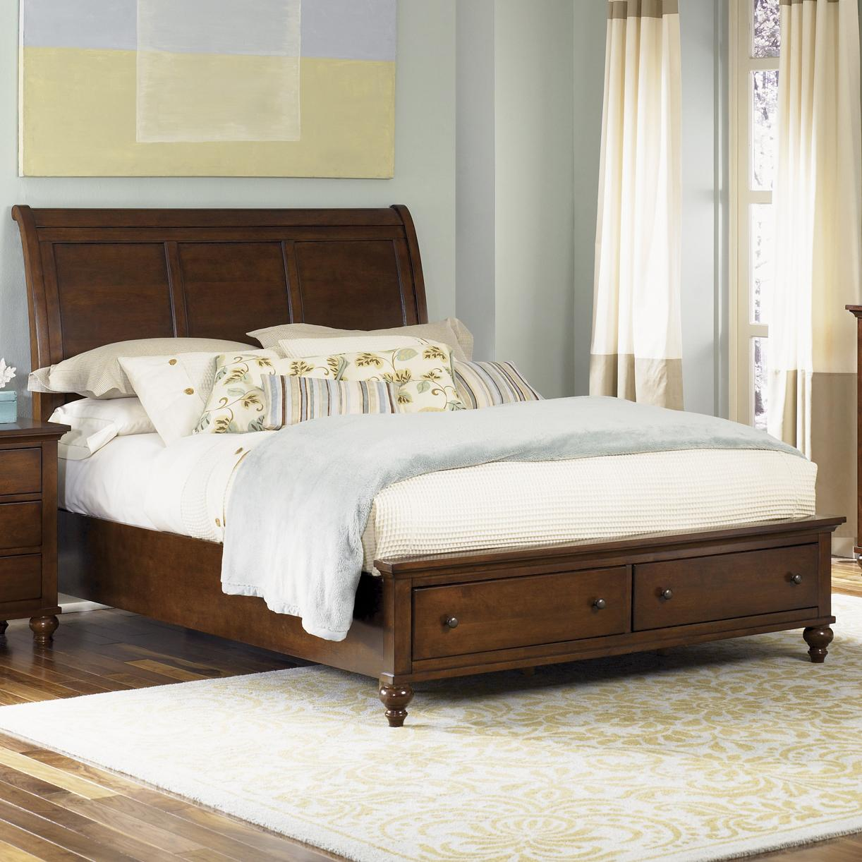 Transitional King Sleigh Bed With 2 Drawer Storage