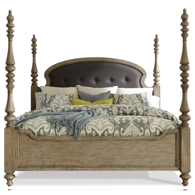 California King Upholstered Poster Bed in Sun Drenched Acacia