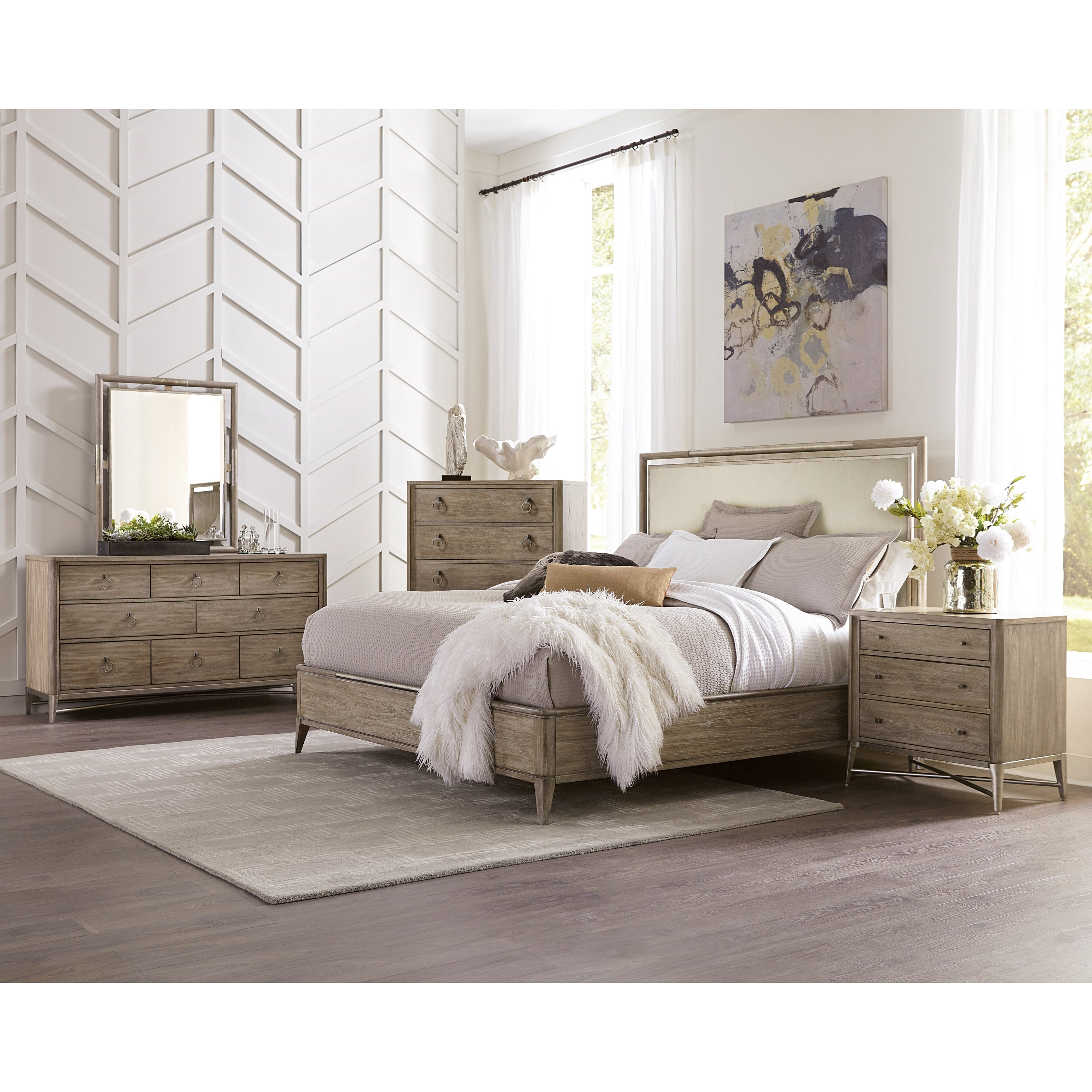 King Upholstered Panel Bed With Metal Accents By Riverside